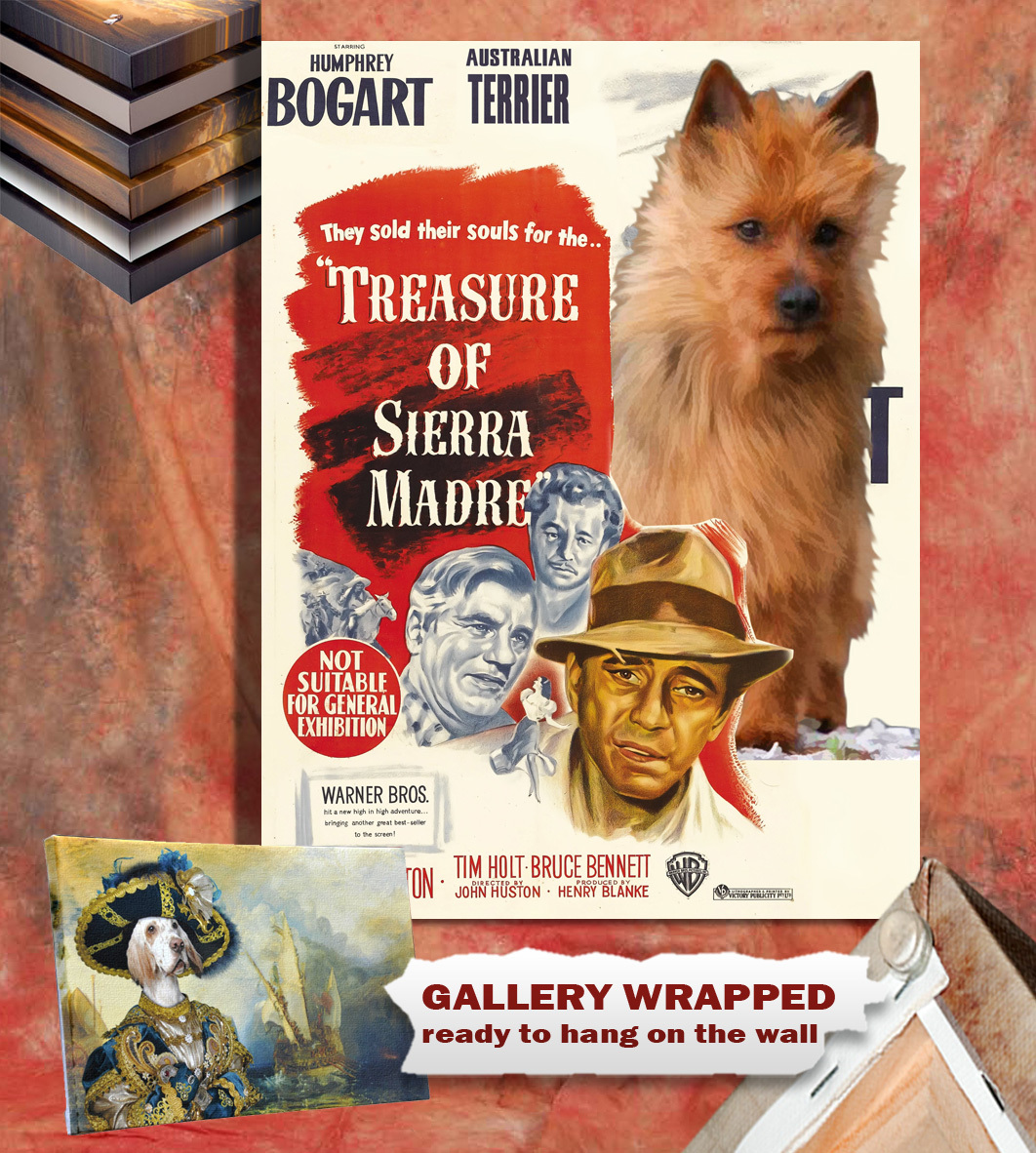 Australian Terrier Vintage Poster Canvas Print -The Treasure of the Sierra Madre
