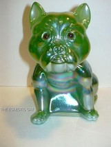 GREEN OPALESCENT CARNIVAL GLASS BULLDOG DOORSTO... - $145.44