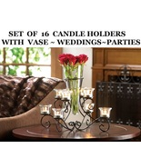 16 Flower Vases each with 6 Candle Holder Cente... - $380.00