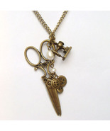 Antiqued Brass Scissors Buttons Sewing-machine ... - $11.99