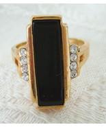 Ring, Avon, Stylish Black Rectangle Set with Rh... - $15.00