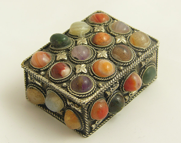 SOLID SILVER AGATE KEEPSAKE TRINKET BOX collectibles