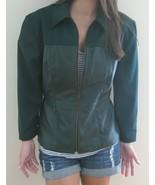 VTG Dark green jacket Leather Wool 8 Metal zipp... - $99.99