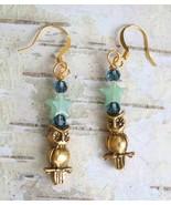 Judy Strobel Elegant Owl & Aventurine Star Earr... - $25.00