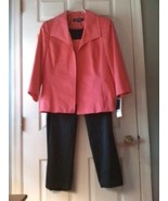 NWT Kasper Sz 16 3 PC Pink Open Front Jacket Shell Tank Black Pants Pantsuit 