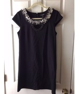 Chetta B Sunhee Sz 4 Black Beaded Neck Rayon Kn... - $38.00