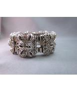 vTG Thick Filigree Link Silver Tone Bracelet Wi... - $39.59