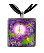 Peace Sign Tree Luna Moths Purple Moon Zen Gree... - $32.99