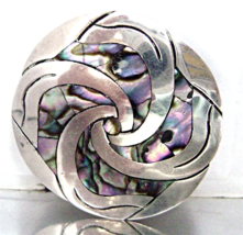 Vintage Sterling Mexico Abalone Brooch Modernis... - $35.00