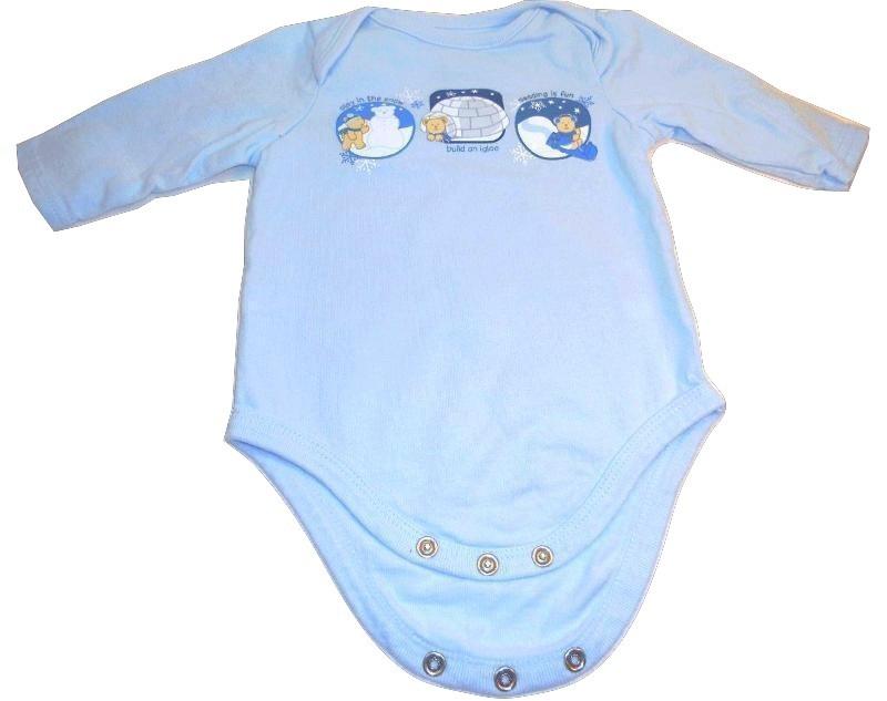Small Wonders Long sleeve blue teddy beat onesie 0 to 3 months