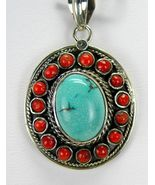 Southwestern Turquoise Oval surrounded by Red C... - $127.68