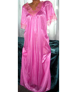 Pink Long Nylon Nightgown Lace Trim M New With ... - $22.00