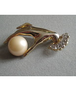 Vintage Hand Holding Gold Tone Faux Pearl Brooch  - $20.25