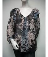 REBECCA TAYLOR Sheer Ruffled Shoulder Floral To... - $56.09