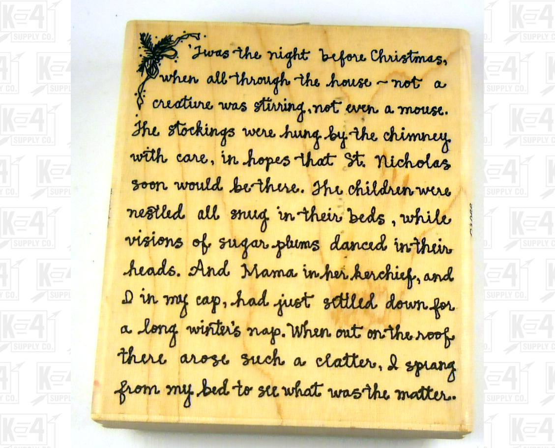 Stampington Twas The Night Before Christmas Text Rubber Stamp Used ...