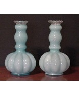 Fenton Glass Pair Vases Opalescent Aqua Blue Ru... - $84.15