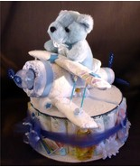 Blue AIRPLANE Baby Shower Gift Boy Diaper Cake ... - $48.00