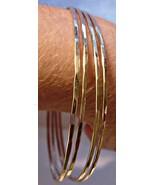 Handmade 14K gold filled hammered bangle bracel... - $84.15