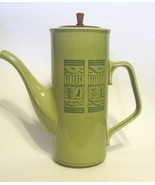 Mid-Century Ceramic Coffee Pot with Wood Lid 19... - $49.49