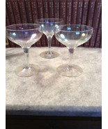 Vintage Iridescent Clear Glass Set of 3 Compote... - $12.00