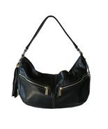 Perlina Premium Black Leather Pocket Tassel Hob... - $45.00