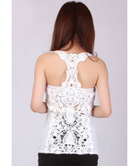 Romantic Summer White Crochet Lace Back Tank To... - $26.00