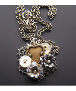 Heart Pastel  Blue Flower Vintage Button Silver... - $45.54