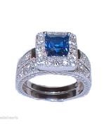 Women's Halo Sapphire Blue Cz Sterling Silver W... - $29.99