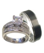 His & Her 3 Piece Wedding Ring Set 925 Sterling... - $39.99