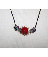 Red Beaded Wire Wrapped Silver Plate Necklace R... - $19.99