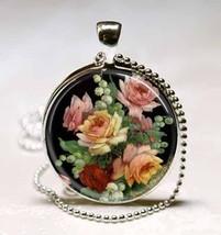 Vintage Floral Flower Glass Tile Necklace Pendant - $10.99
