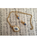 Vintage Blue and White Necklace and Earring Set... - $12.49