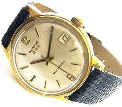 Vintage Benrus Leather Selfwinding Gold Tone Ca... - $187.11
