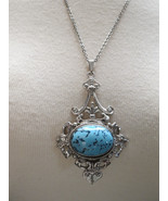 VTG Pendant Necklace Couture Chain Silvertone R... - $34.64