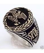 14k Gold Roman Eagle Wreath  Mens Silver Signet... - $296.01