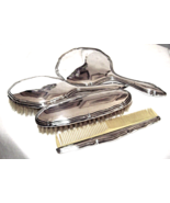 Art Deco 800 Silver 4 Piece Vanity Set Signed ... - $199.00