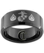 Tungsten Ring Mens 10mm Black Beveled Miltary M... - $49.00