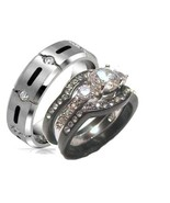 His & Hers 4 Piece Cz Wedding Band Ring Set  St... - $38.99