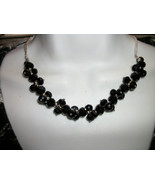 CLUSTER NECKLACE  BLACk  FAceted glass+Sterling... - $19.99