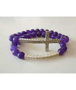Artisan two purple natural stone stretch bracel... - $16.82