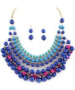 Shades of blue beaded bib fashion statement gyp... - $18.81