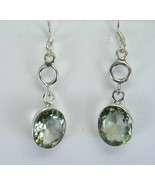 Faceted Green Amethyst Ovals Sterling Silver Da... - $51.87