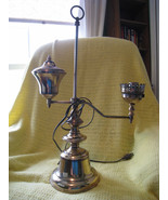 Antique Brass Adjustable Student Oil Lamp Conve... - $65.00