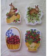 Magnets, Set of 4 Bunnies & Berries  - $15.00