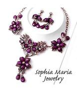 Gorgeous purple crystal flower chunky evening n... - $35.63