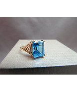 VTG 14K Yellow Gold Ring Filigree Emerald Cut B... - $296.99