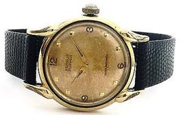Vintage Benrus 10K Rolled Gold Plated Black Lea... - $232.65