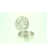 Sterling silver embossed pill box lady with flo... - $150.00