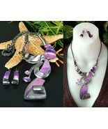 Abstract Sculpture Statement Necklace Earrings ... - $27.95