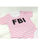 FBI Pink Stripes Baby Girls Onesie. Modern Chic... - $27.00